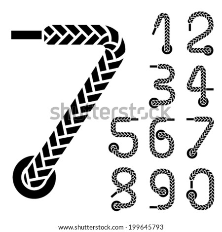 vector black shoe lace numbers  - stock vector