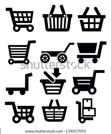 vector black shopping cart icon set on white - stock vector
