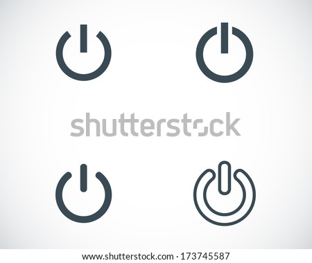 Vector black shut down icons set on white background - stock vector