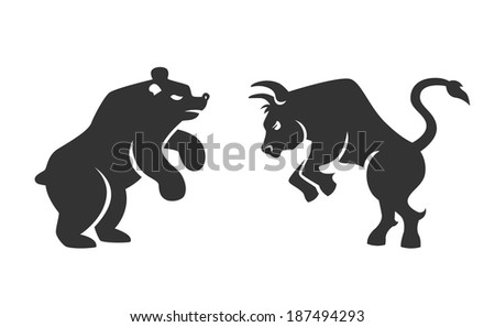 Vector black silhouette bull and bear financial icons depicting the market trends of stocks and shares on the bourse  vector illustration isolated on white - stock vector