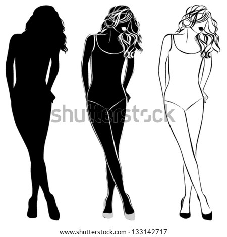 Vector black silhouette of beautiful woman isolated on the white background - stock vector