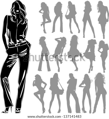 Vector black silhouettes of beautiful women isolated on white background - stock vector