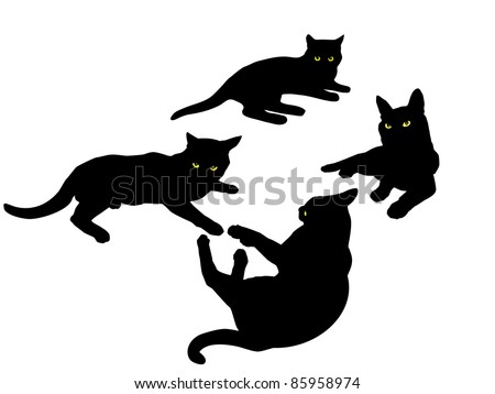 Vector black silhouettes of cats. - stock vector