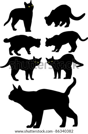 Vector black silhouettes of cats. All objects are separated, the can be scaled or recolored without problems and quality loss. - stock vector