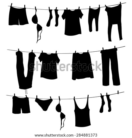 Vector Black Silhouettes of Laundry on a Rope - stock vector