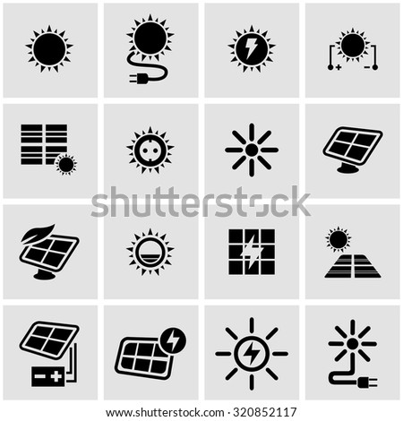 Vector black solar energy icon set. Solar Energy Icon Object, Solar Energy Icon Picture, Solar Energy Icon Image, Solar Energy Icon Graphic, Solar Energy Icon JPG, Solar Energy Icon EPS - stock vector - stock vector