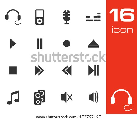 Vector black Sound icons set on white background - stock vector