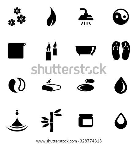 Vector black spa icon set. Spa Icon Object, Spa Icon Picture, Spa Icon Image,Spa Icon Graphic, Spa Icon JPG, Spa Icon EPS, Spa Icon AI - stock vector - stock vector