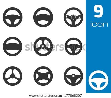 Vector black Steering wheels icons set white background - stock vector