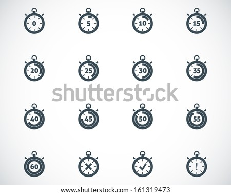 Vector black stopwatch icons set - stock vector