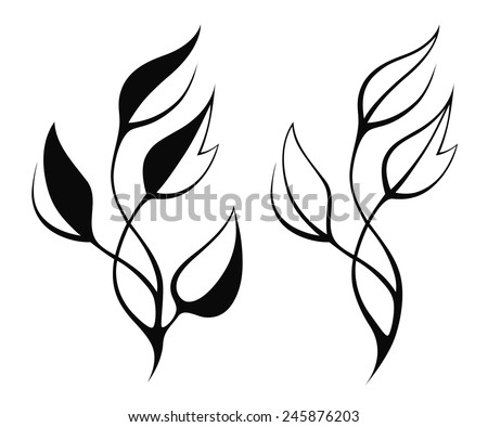 Vector black stylized leaf silhouette isolated on white - stock vector