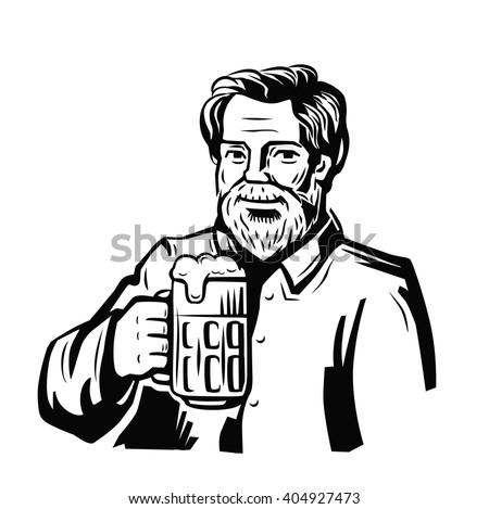 vector black symbol of man with beer - stock vector
