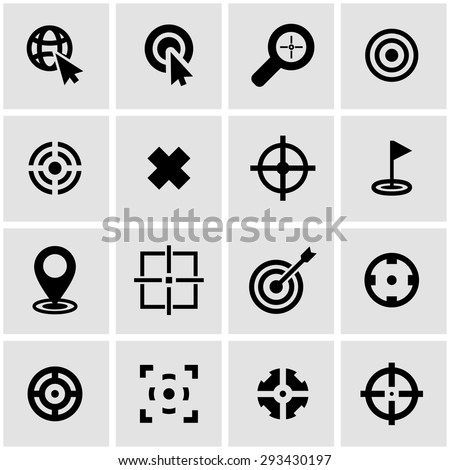Vector black target icon set on grey background - stock vector