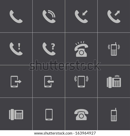 Vector black telephone icons set - stock vector