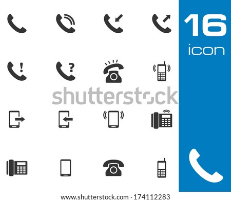 Vector black telephone icons set on white background - stock vector