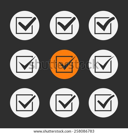 Vector black ticks or check marks in square confirmation acceptance positive passed voting agreement true or completion of tasks on a list - stock vector