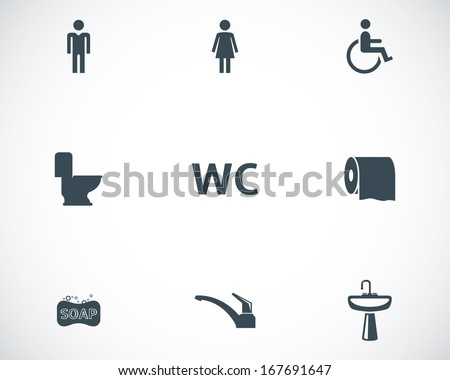 Vector black toilet icons set on white background - stock vector
