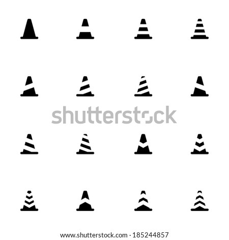 Vector black traffic cone   icons set on white background - stock vector