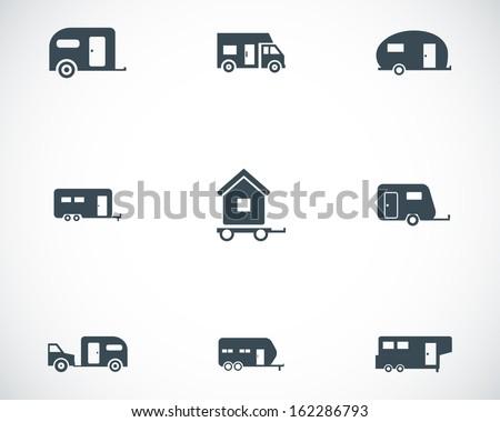 Vector black trailer icons set - stock vector