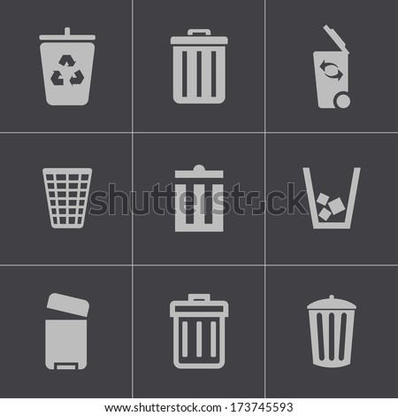 Vector black trash can icons set on gray background - stock vector