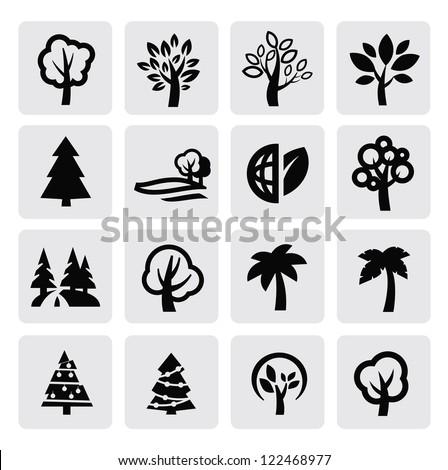 vector black trees icon set on gray - stock vector