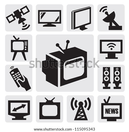 vector black TV icons set on gray - stock vector