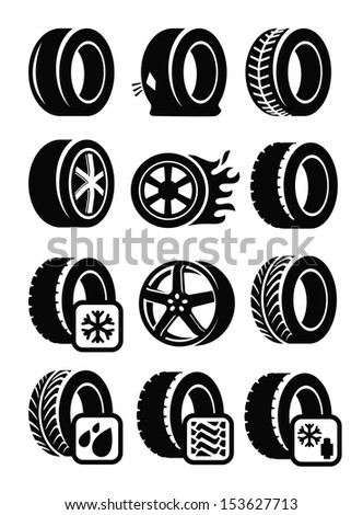 vector black tyre icons set on gray - stock vector