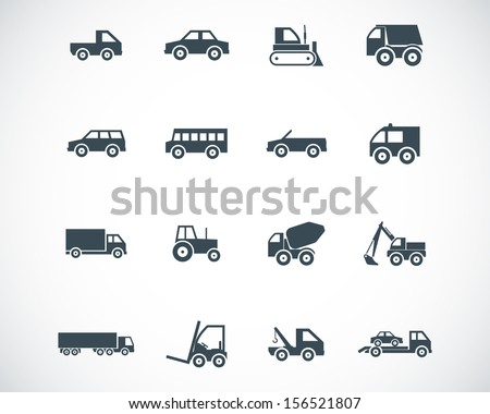 Vector black  vehicle icons set - stock vector