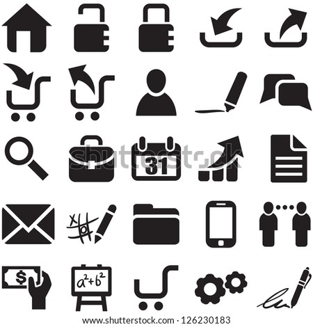 Vector black web icons. - stock vector