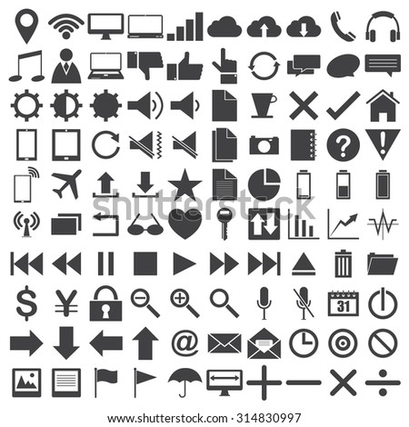 Vector Black Web icons, Business icons and Technology icons on the white, Vector Illustration EPS 10. - stock vector