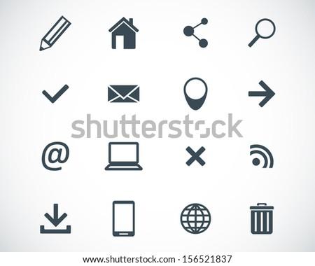 Vector black  web icons set - stock vector