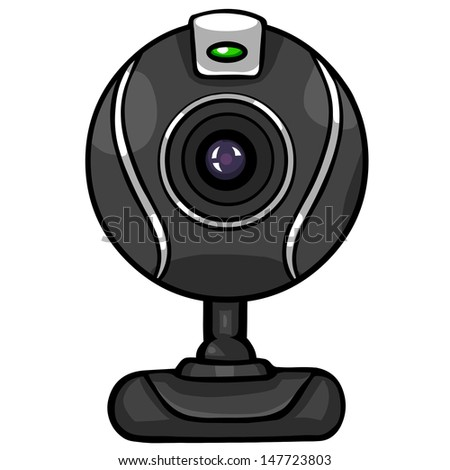 vector black webcam - stock vector