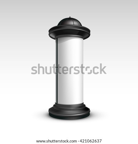 Vector Black White Poster Stand Pillar for Outdoor Advertising Isolated on White Background - stock vector