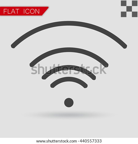 Vector black Wi-Fi Icon Flat Style with red - stock vector
