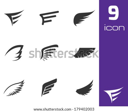 Vector black wing icons set on white background - stock vector