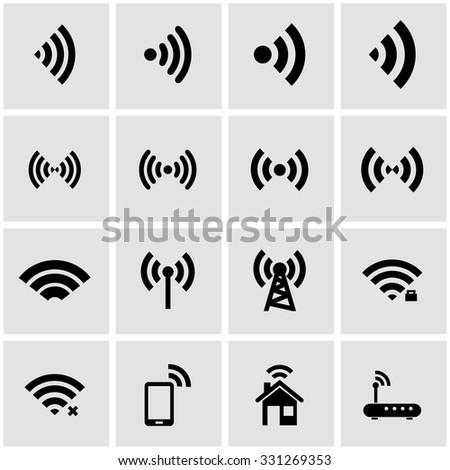 Vector black wireless icon set on grey background - stock vector