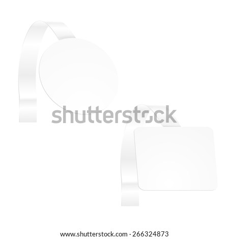 Vector blank advertisement wobbler - rectangular and round - stock vector