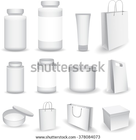 Vector Blank Big Set of Plastic Packaging Bottles with Cap for Cosmetics, Vitamins, Pills or Capsules, bag box - stock vector