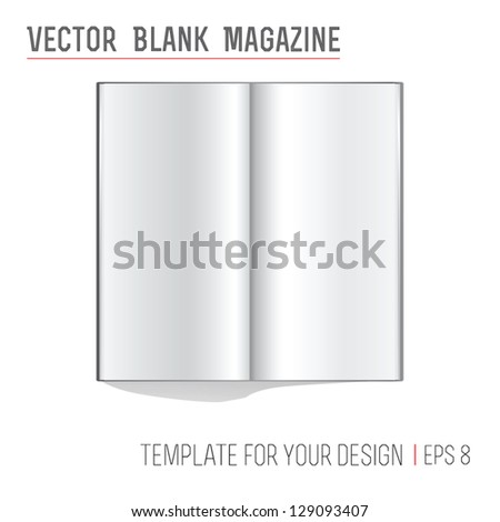Vector blank book spread on white background - stock vector