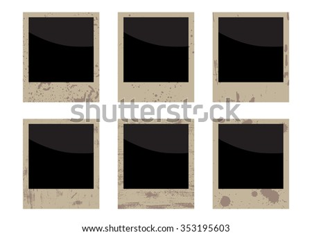 vector blank grunge vintage photo frame set. EPS - stock vector