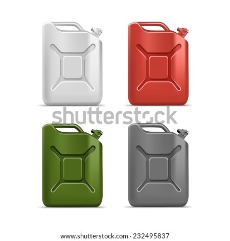 Vector Blank Jerrycan Canister Gallon Oil Cleanser Detergent Abstergent Isolated - stock vector