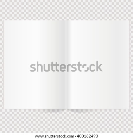 Vector blank magazine spread. Book Spread With Blank White Pages. Isolated white paper - stock vector