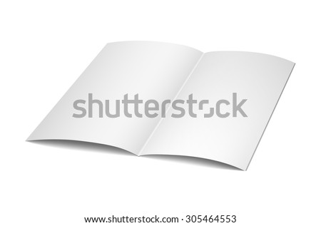 Vector blank magazine spread on white background. Using mesh - stock vector