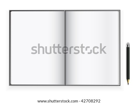 vector blank open book pages with pencil - stock vector