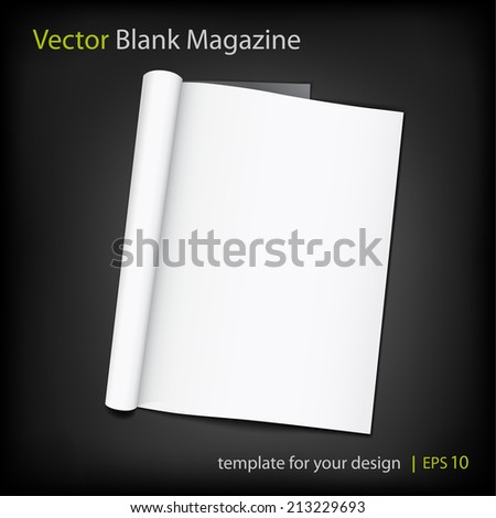 Vector blank page of magazine on black background. Template for design. Using mesh - stock vector