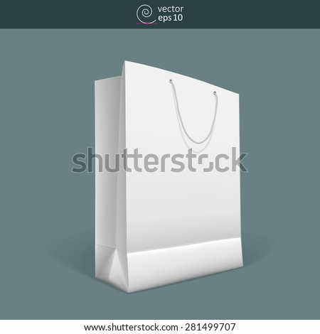 vector blank paper bag with rope handles on dark background - stock vector