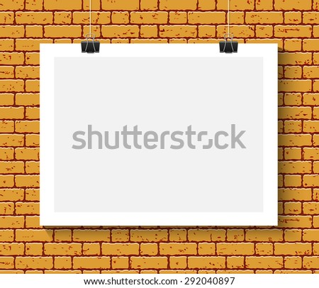 Vector Blank paper poster mock up on orange brick wall. Template of a paper sheet with clips. Paper card hanging on the rop. - stock vector
