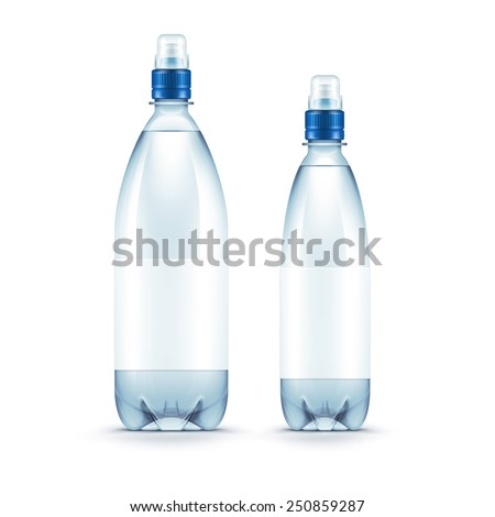 Vector Blank Plastic Blue Water Bottle Isolated on White Background - stock vector
