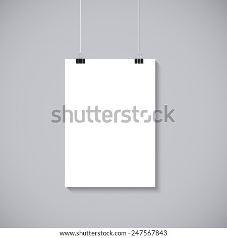 Vector blank poster with transparent vector shadow on gray background. Vector template, mock up - stock vector
