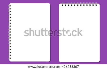 Vector Blank realistic spiral notepad or notebook with solid flat color. Isolated with solid background. No gradient color used - stock vector